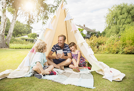 Family in tent with high-speed internet